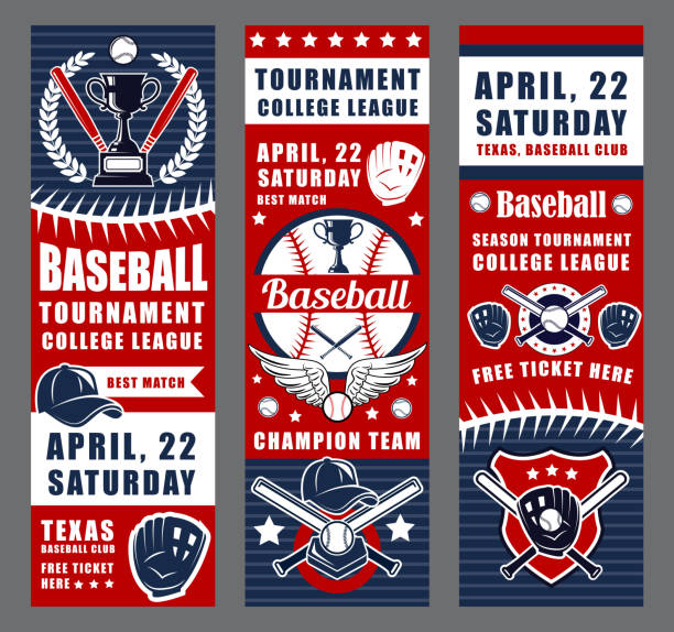 baseball game sport equipment, trophy cups - baseball stock illustrations