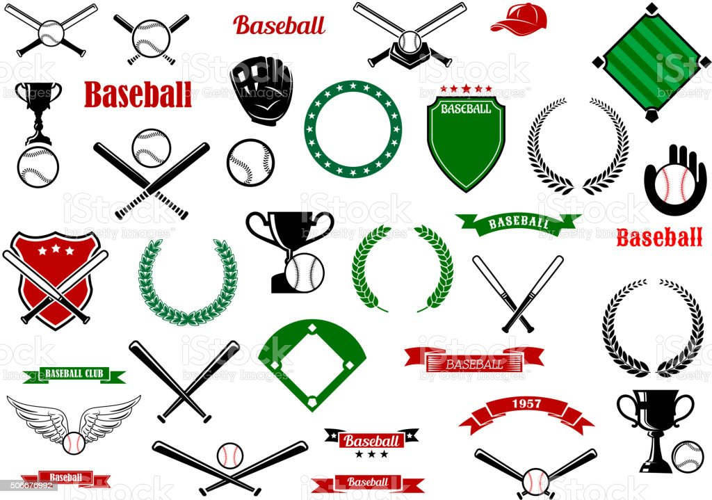 Baseball game sport items and designelements vector art illustration