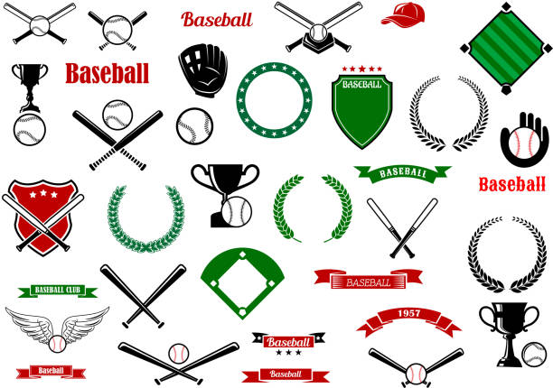 baseball game sport items and designelements - softball stock illustrations, clip art, cartoons, & icons