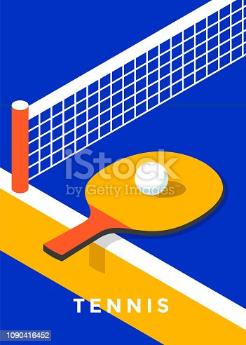 Ping-pong poster design. Table tennis cover. Vector flat illustration