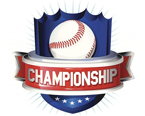 Baseball glossy shield vector art illustration