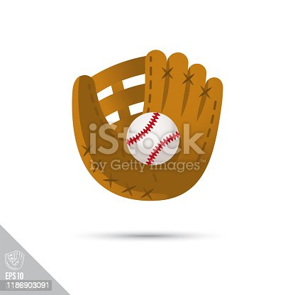 istock baseball glove and ball smooth vector icon 1186903091