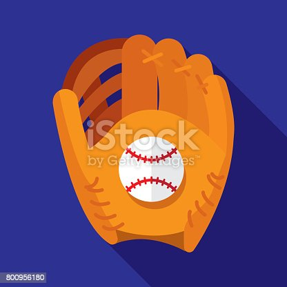 Vector illustration of a baseball glove holding a baseball against a blue background in flat style.