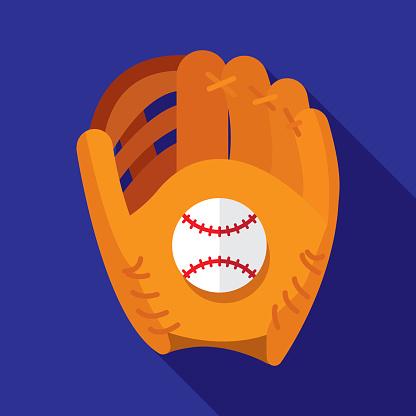 Baseball Glove Icon Flat