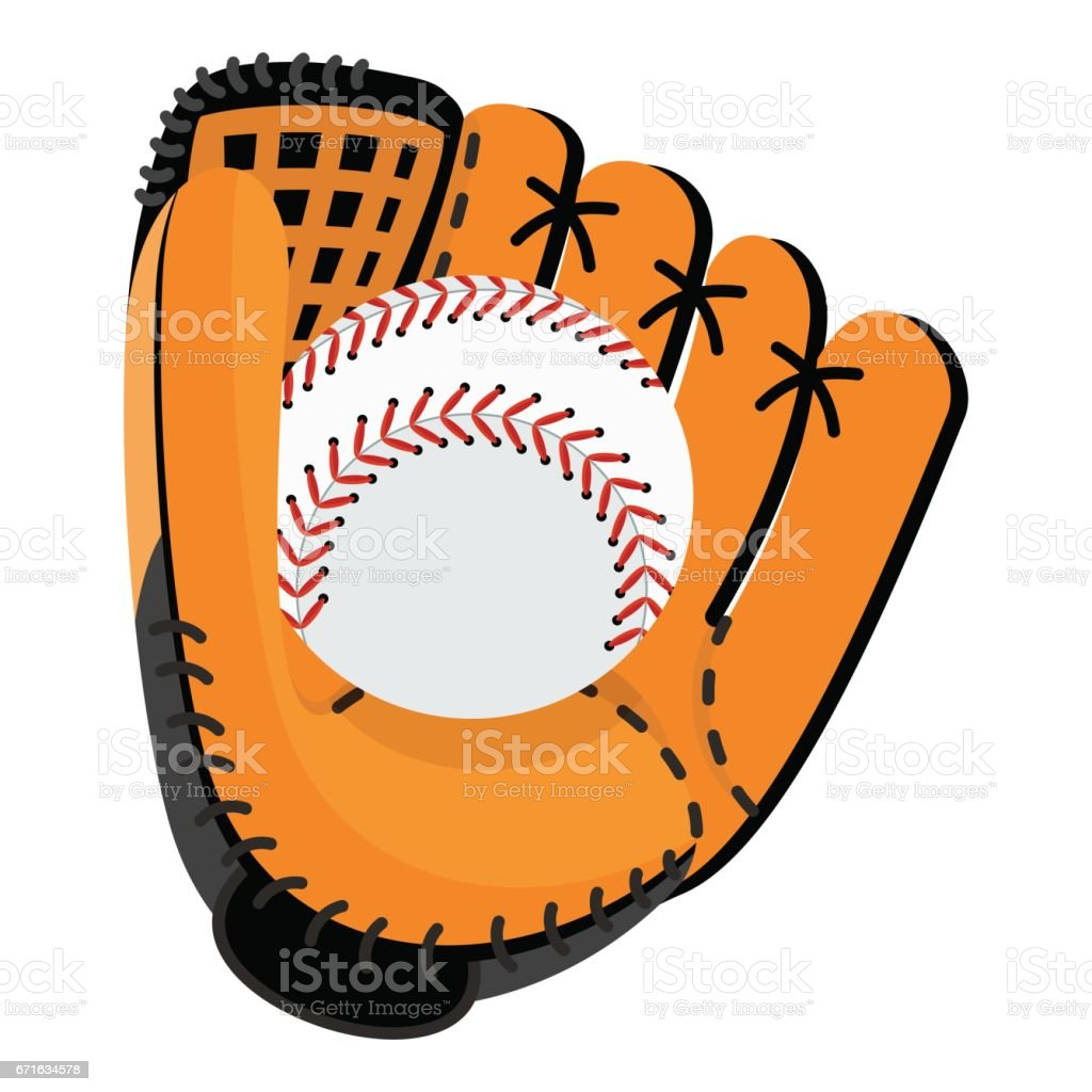 Baseball equipment. Softball glove and ball. Flat vector cartoon...