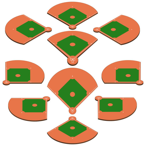 Baseball green field with white line markup vector Baseball green field. Sport background. Baseball Stadium diamond Playgroung template with white lines. vector markup infield stock illustrations