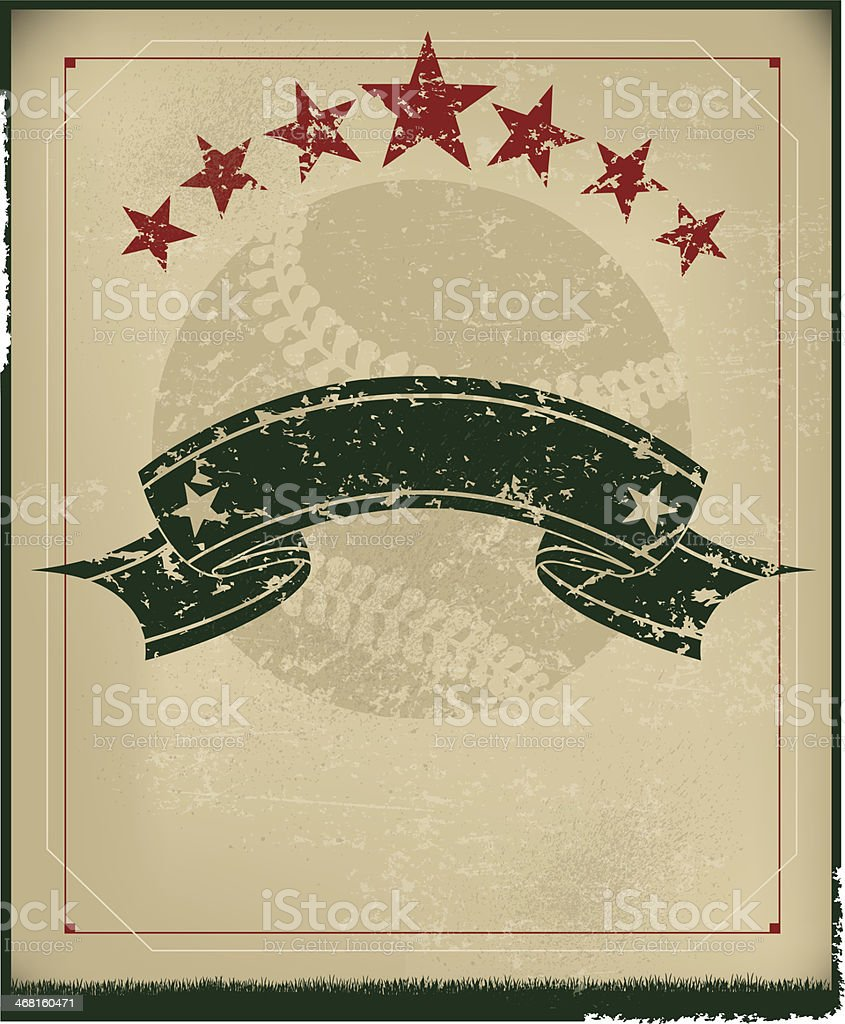 Baseball Grunge Background - Retro vector art illustration