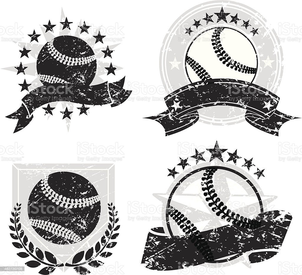 Baseball Grunge Banners and Icons vector art illustration