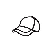 Baseball hat sketch icon
