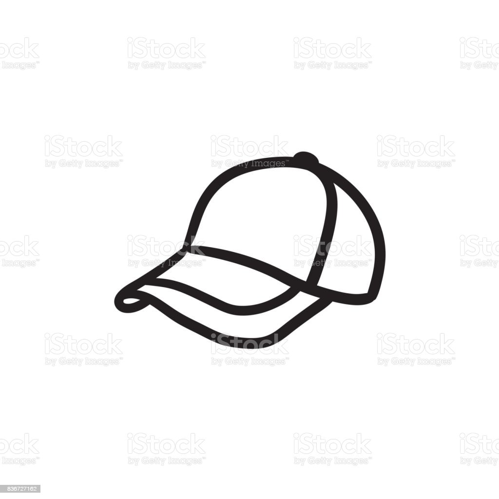 Baseball hat sketch icon vector art illustration