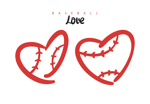 Baseball hearts collection. Abstract vector heart, . Print design for covers, postcards, flyers and t-shirts.