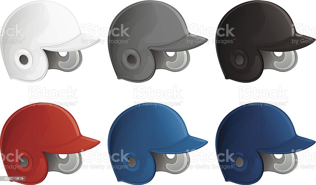 Baseball Helmet Collection royalty-free stock vector art