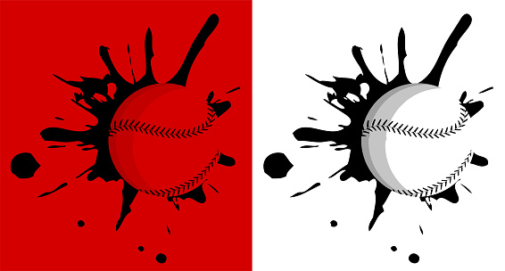 Baseball hit the wall with splashes. Sport equipment. Team sports in America. Active lifestyle. Vector