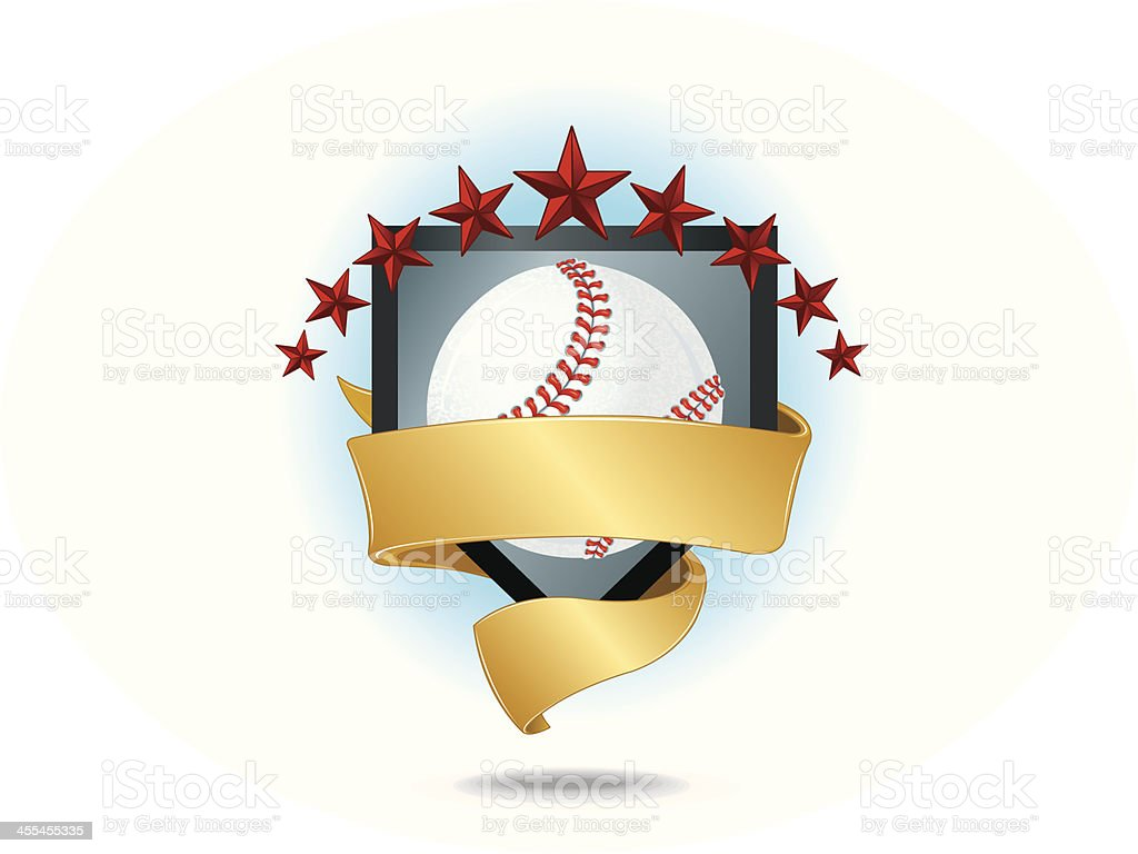 Baseball Home Plate Banner with Stars Background vector art illustration