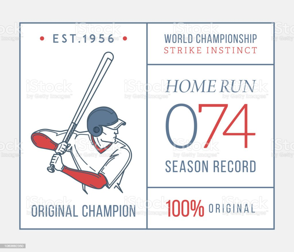 Baseball home run original champion is a vector illustration about...
