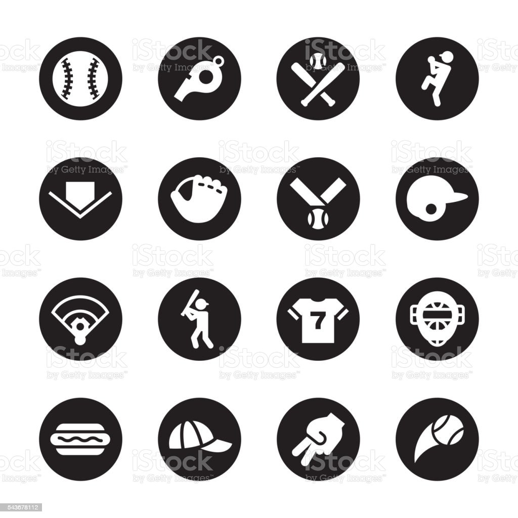 Baseball Icon - Black Circle Series vector art illustration
