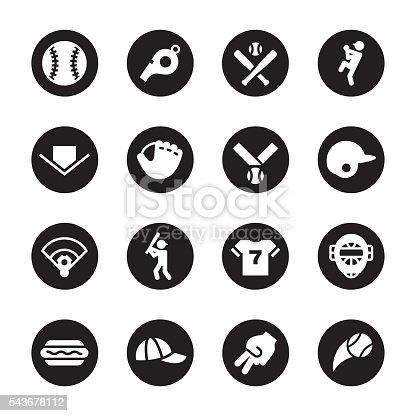 Baseball Icon Black Circle Series Stockvectorkunst En Meer Beelden