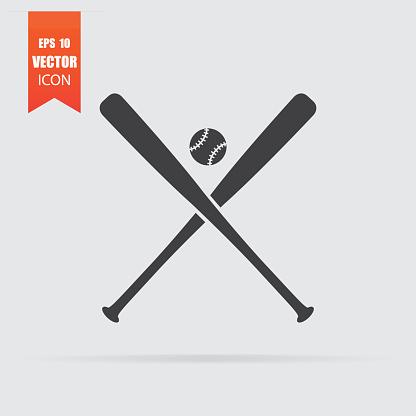 Baseball icon in flat style isolated on grey background.