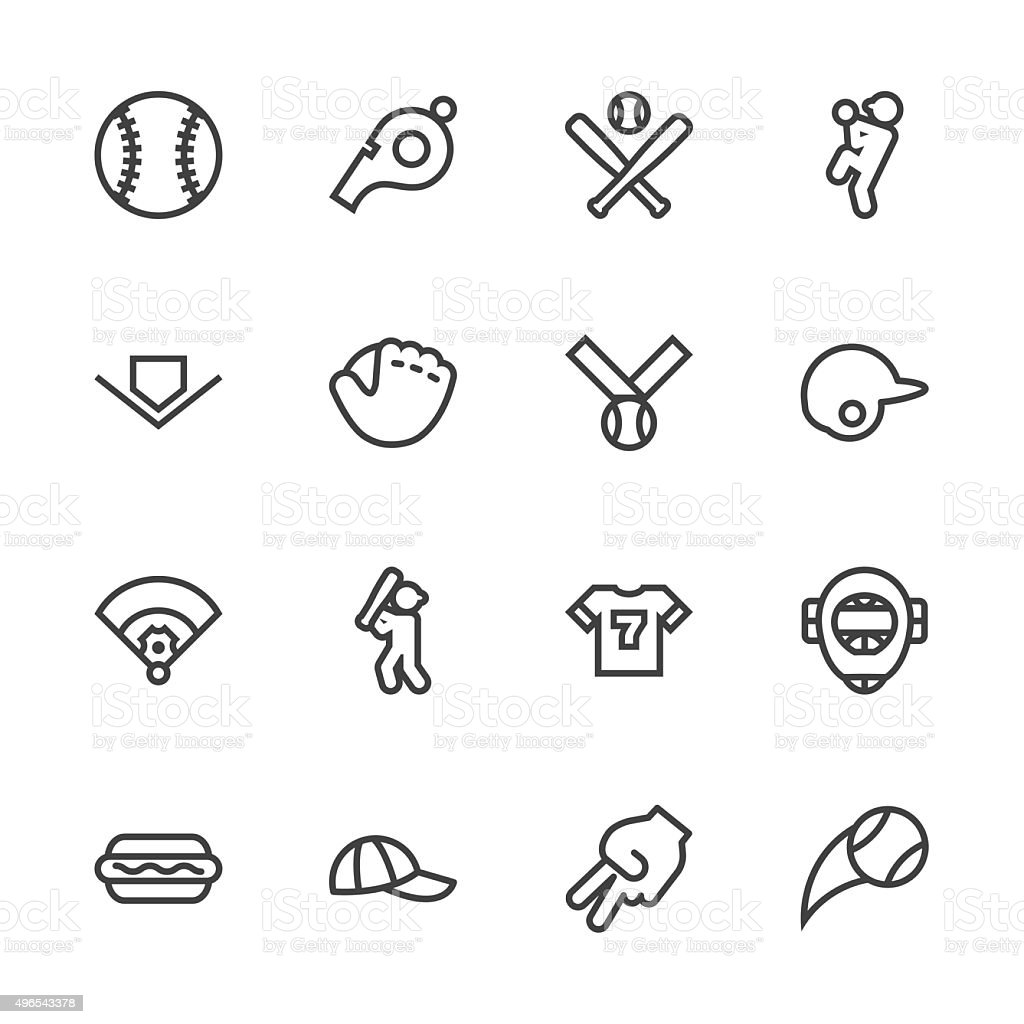 Baseball icon - Line Series vector art illustration
