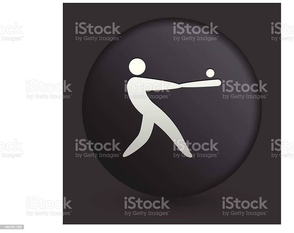 Baseball Icon on Round Black Button Collection royalty-free stock vector art