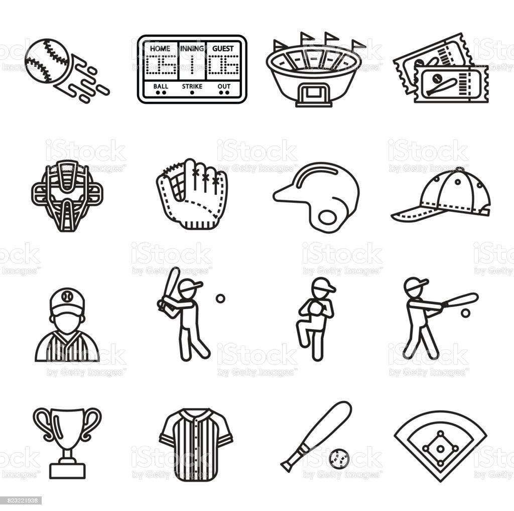 Baseball Icon set. Line Style stock vector. vector art illustration