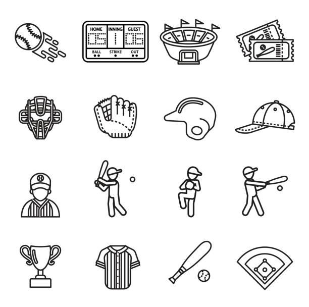 baseball icon set. line style stock vector. - baseball stadium stock illustrations, clip art, cartoons, & icons