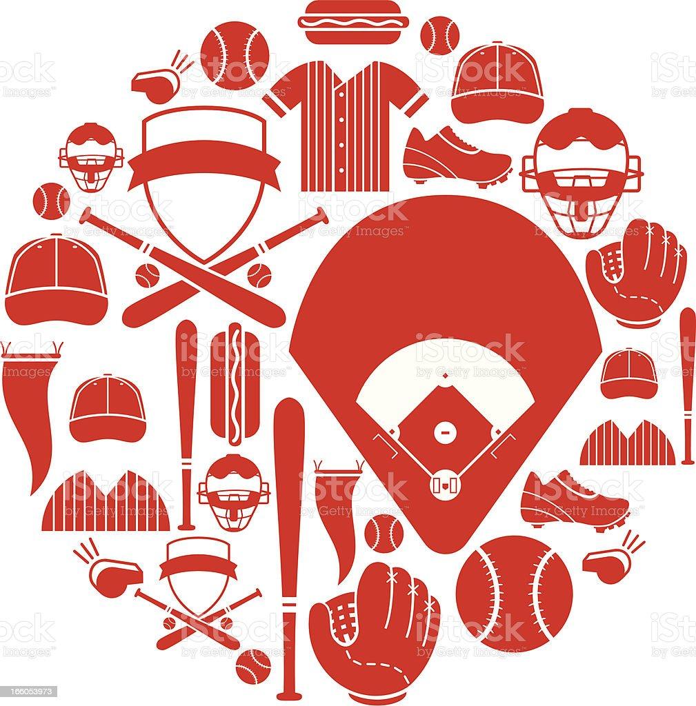 Baseball-Icon-Set – Vektorgrafik