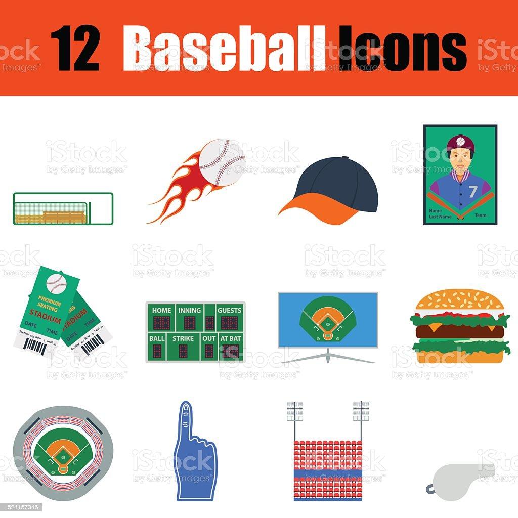 Baseball icon set vector art illustration