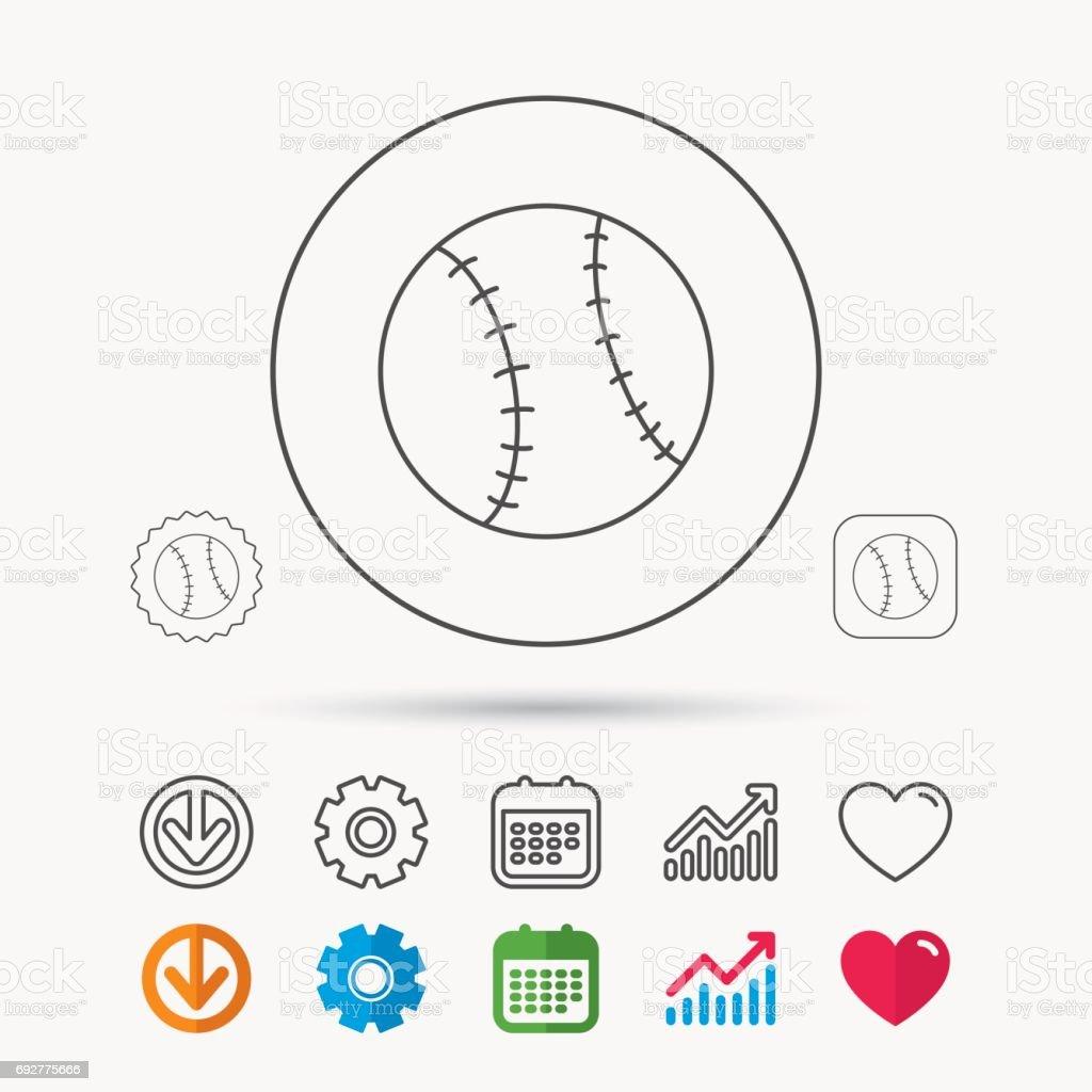 Baseball equipment icon. Sport ball sign. Team game symbol. Calendar,...