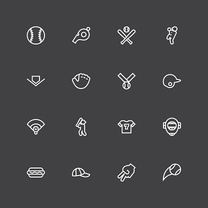 Baseball Icon - White Line Series