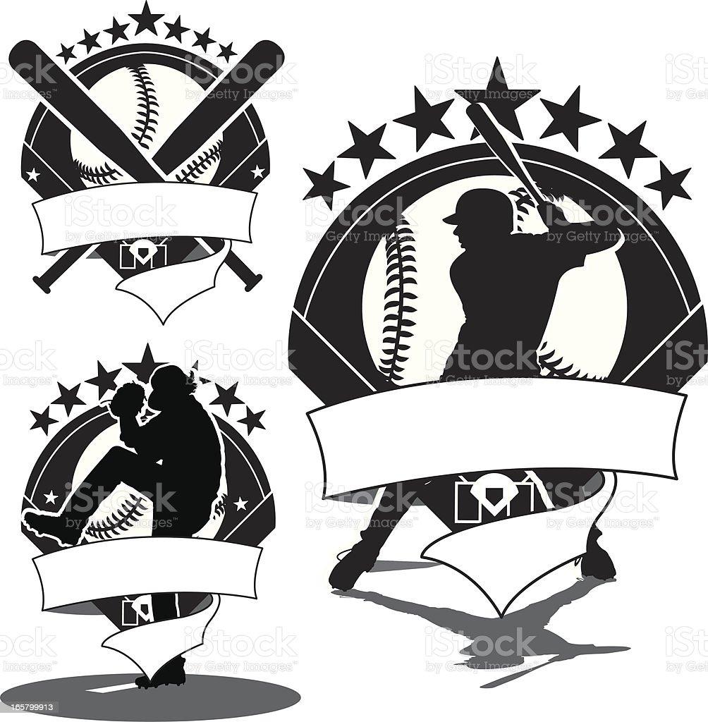 Baseball Icons - Batter, Pitcher & Bats vector art illustration