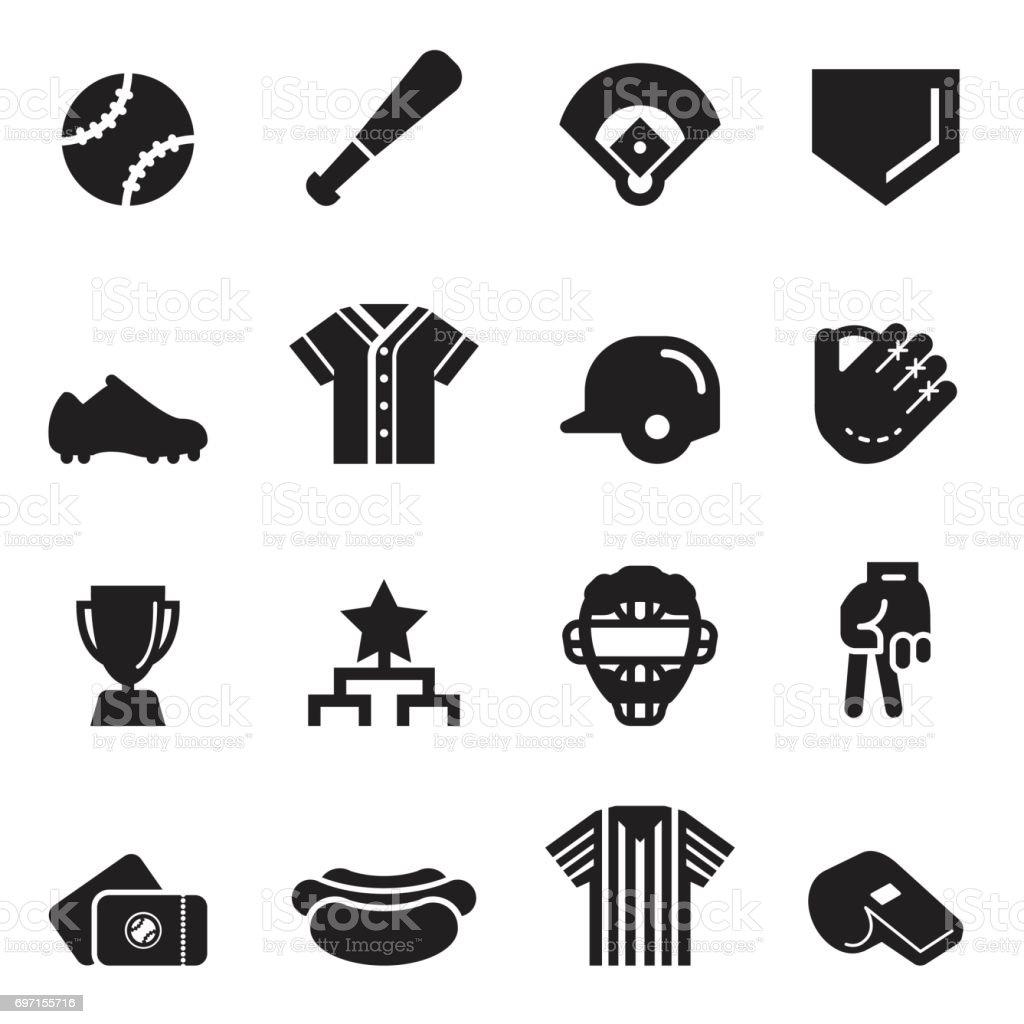 Baseball Icons [Black Edition] vector art illustration