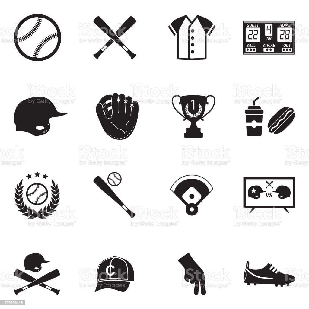 Baseball Icons. Black Flat Design. Vector Illustration. vector art illustration