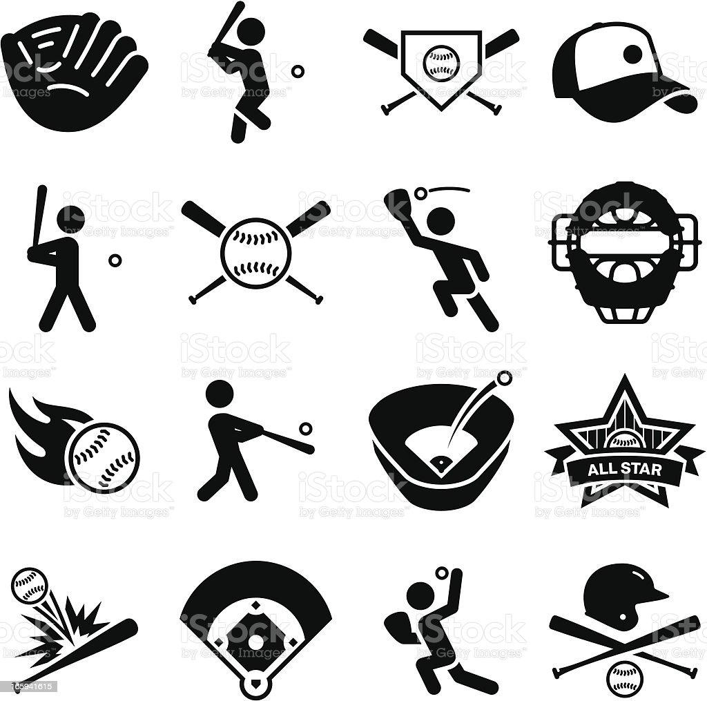 Baseball Icons - Black Series vector art illustration
