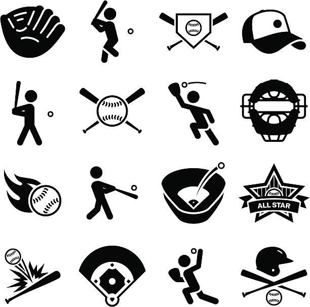 baseball icons - black series - softball stock illustrations, clip art, cartoons, & icons