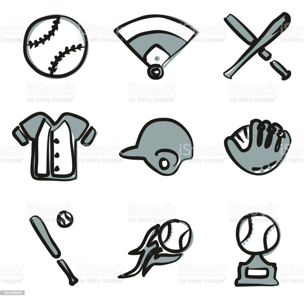 Baseball Icons Freehand 2 Color vector art illustration