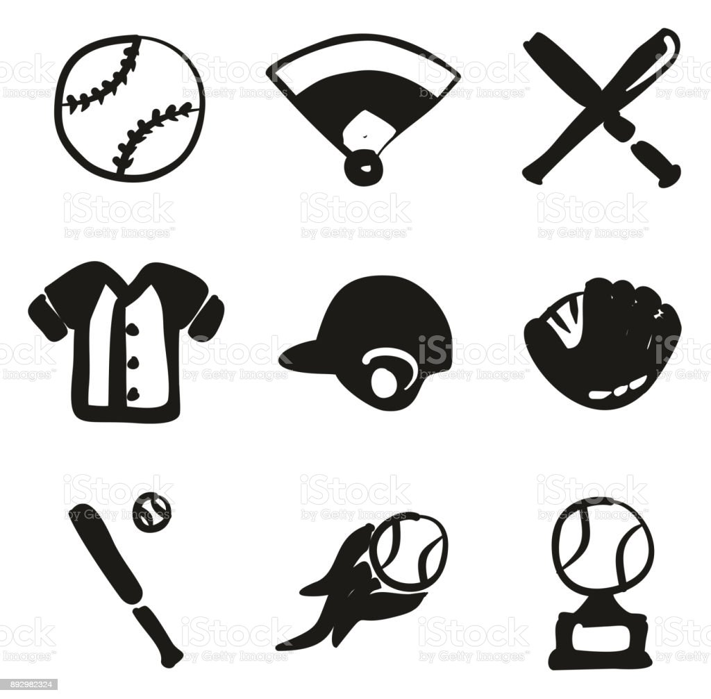 Baseball Icons Freehand Fill vector art illustration