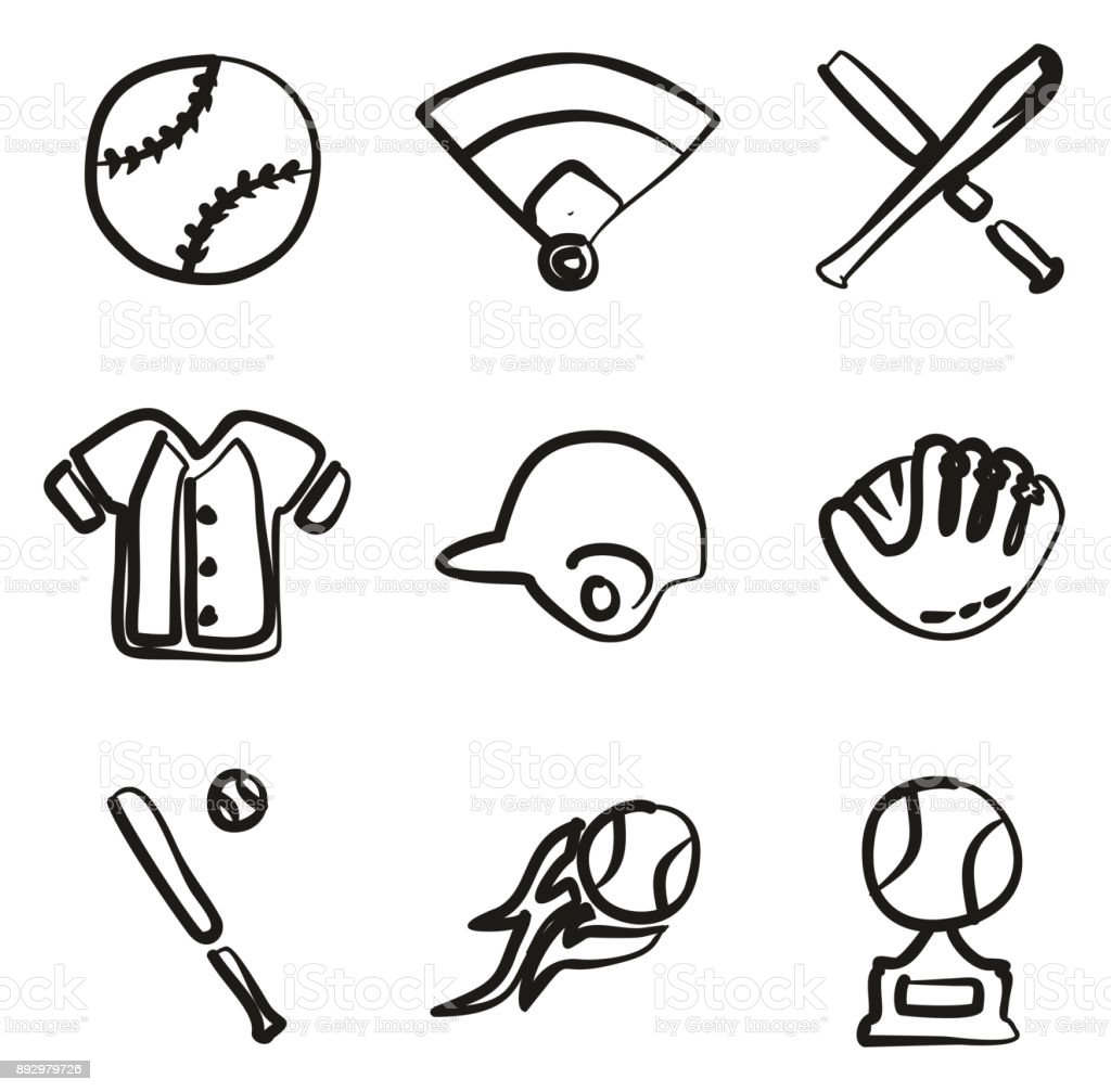 Baseball Icons Freehand vector art illustration