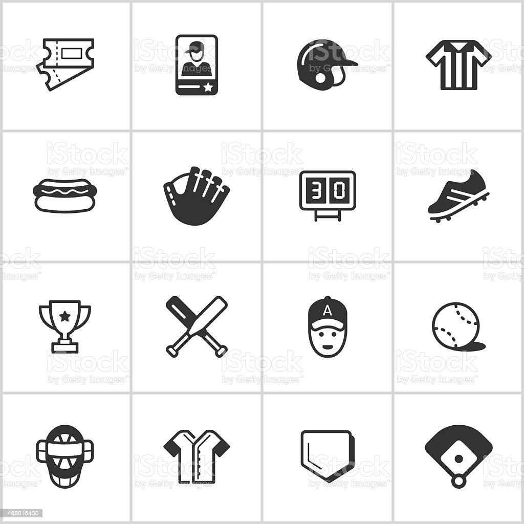 Baseball Icons — Inky Series vector art illustration