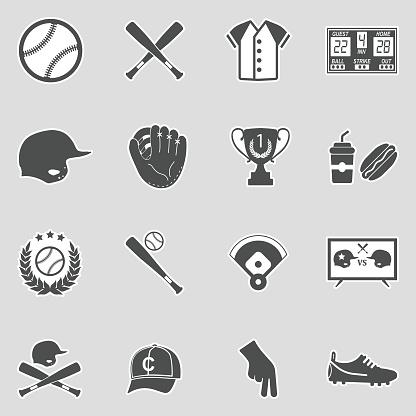 Baseball Icons. Sticker Design. Vector Illustration.