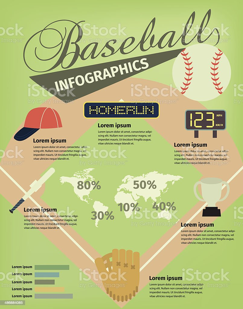 Baseball infographic vector art illustration