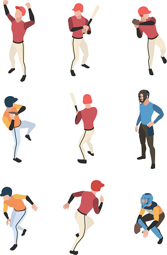 Baseball isometric. Sport game team people in action poses running standing baseball pitcher vector illustration
