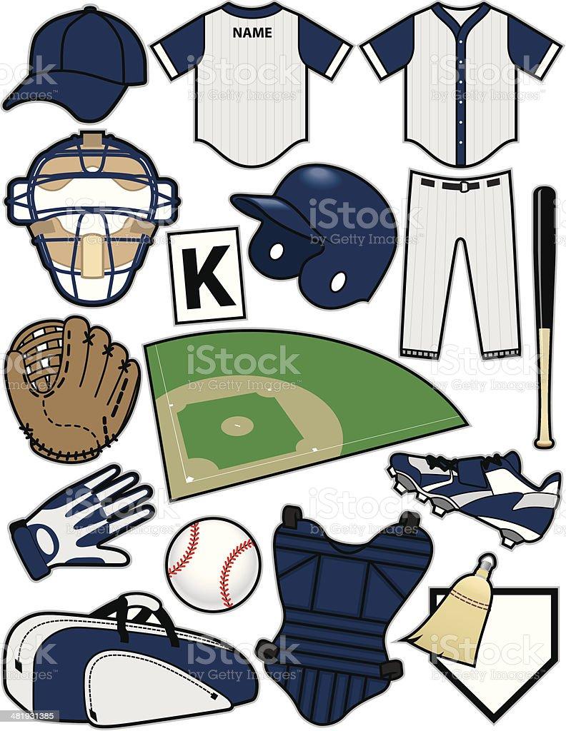 Baseball Items vector art illustration