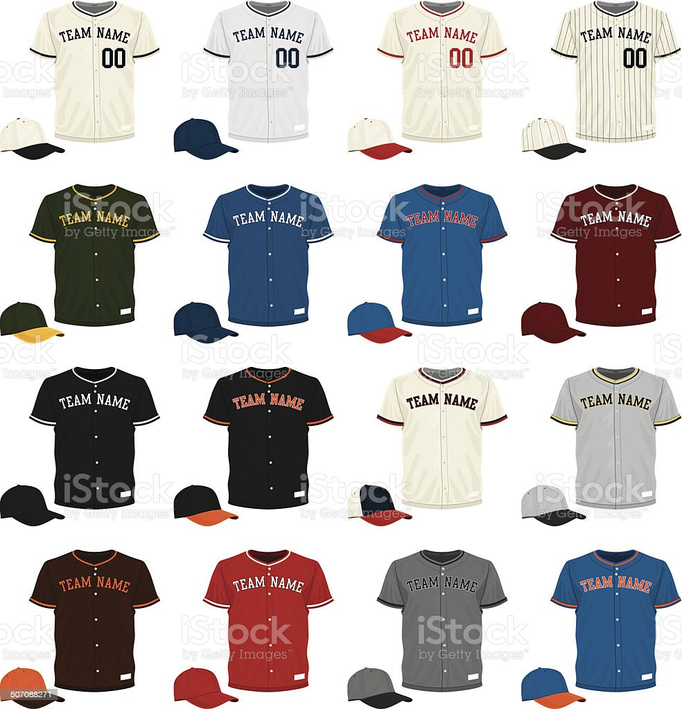 Baseball Jersey Collection vector art illustration