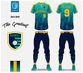 Baseball jersey, pants and socks template design. Blue and green gradient baseball uniform t-shirt mock up. Raglan t-shirt sport in front and back view. Flat baseball logo design design. Vector Illustration.