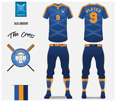 Baseball jersey, pants and socks template design. Blue gradient cross stripe baseball uniform t-shirt mock up. Raglan t-shirt sport in front and back view. Flat baseball logo design. Vector