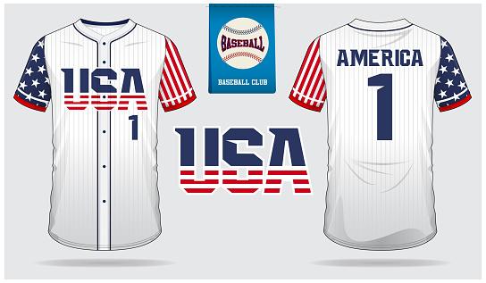 Baseball jersey, sport uniform, raglan t-shirt sport, short, sock template. Baseball t-shirt mock up. Front and back view baseball uniform. Flat baseball logo on blue label.