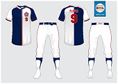 Baseball jersey, sport uniform, raglan t-shirt sport, short, sock template. Baseball t-shirt mock up. Front and back view sport uniform. Flat baseball symbol on blue label. Vector Illustration.