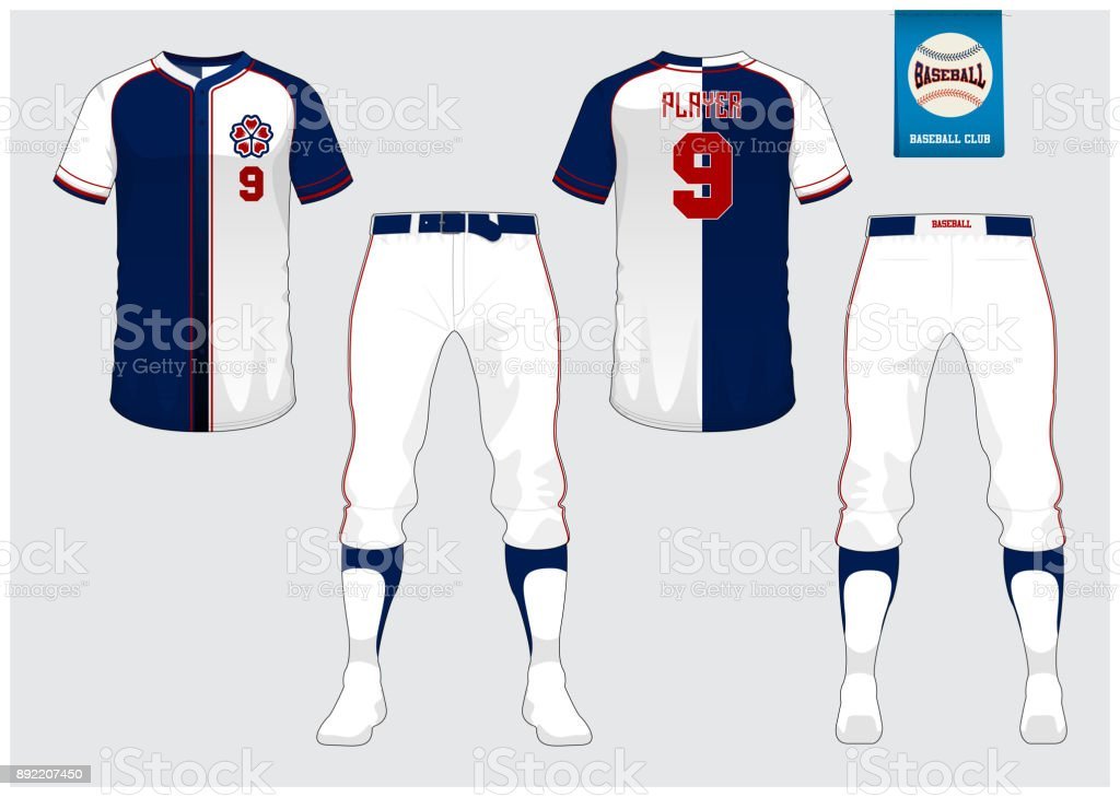 Baseball jersey, sport uniform, raglan t-shirt sport, short, sock template. Baseball t-shirt mock up. Front and back view sport uniform. Flat baseball symbol on blue label. Vector vector art illustration