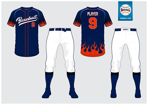 Baseball jersey, sport uniform, raglan t-shirt sport, short, sock template. Baseball t-shirt mock up. Front and back view baseball uniform. Flat baseball logo on blue label. Vector.
